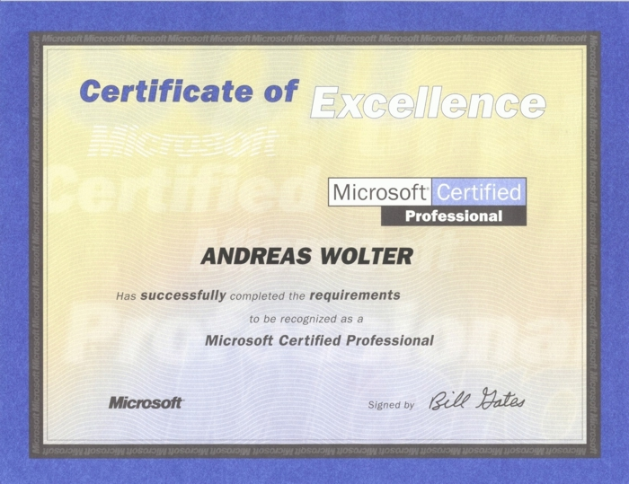 Certifications - Andreas Wolter