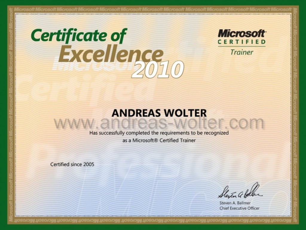 Certifications Andreas Wolter